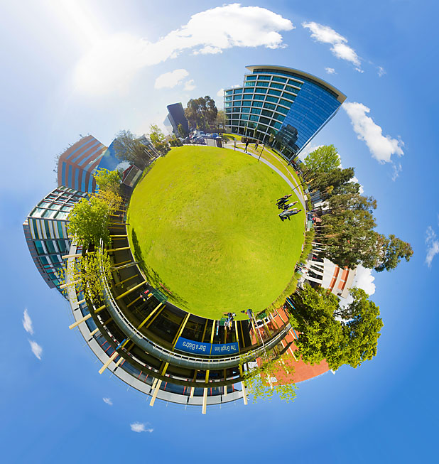 Spherical panorama of Monash University, Caulfield campus