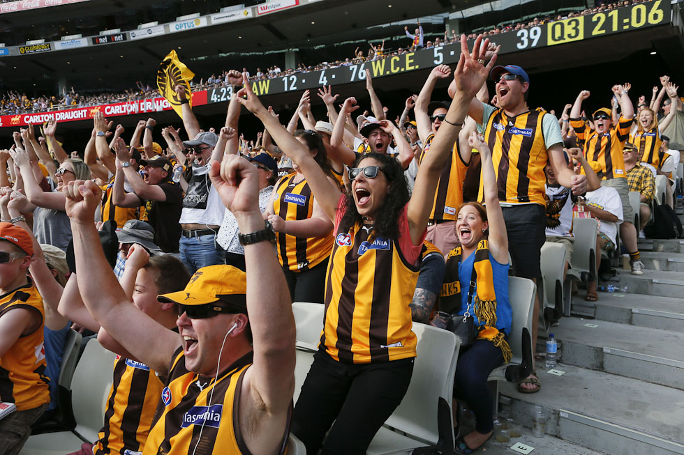 MELBOURNE, AUSTRALIA - OCTOBER 3: Hawthorn fans during the 2015 Toyota AFL Grand Final match between the Hawthorn Hawks and the West Coast Eagles at the Melbourne Cricket Ground, Melbourne, Australia on October 3, 2015. (Photo by Greg Ford/AFL Media)