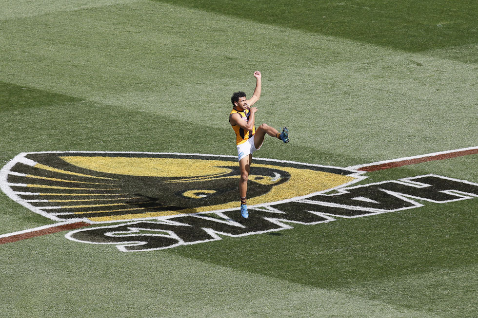 MELBOURNE, AUSTRALIA - OCTOBER 3: Hawthorn's Cyril Rioli kicks gaolbird during the 2015 Toyota AFL Grand Final match between the Hawthorn Hawks and the West Coast Eagles at the Melbourne Cricket Ground, Melbourne, Australia on October 3, 2015. (Photo by Greg Ford/AFL Media)