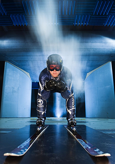 Luke Deane Member of Australian Ski team, competes in GS and Super G events, undergoing wind tunnel testing at Monash University.